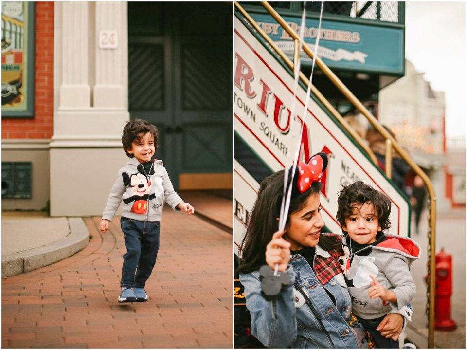 boy and mom photographed at Disneyland Paris with vacation photographer