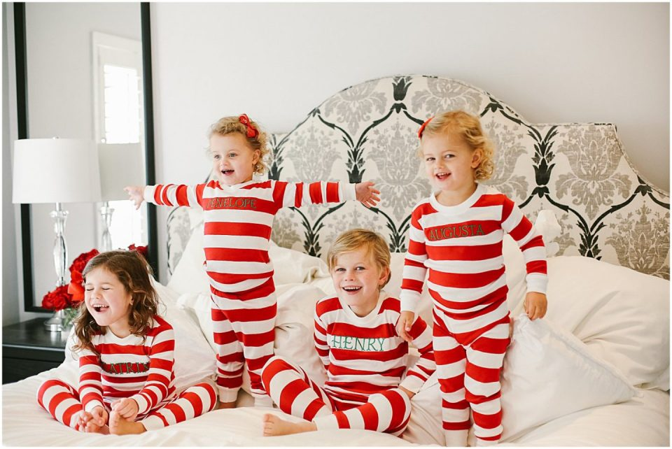 children dresses in matching christmas pajamas