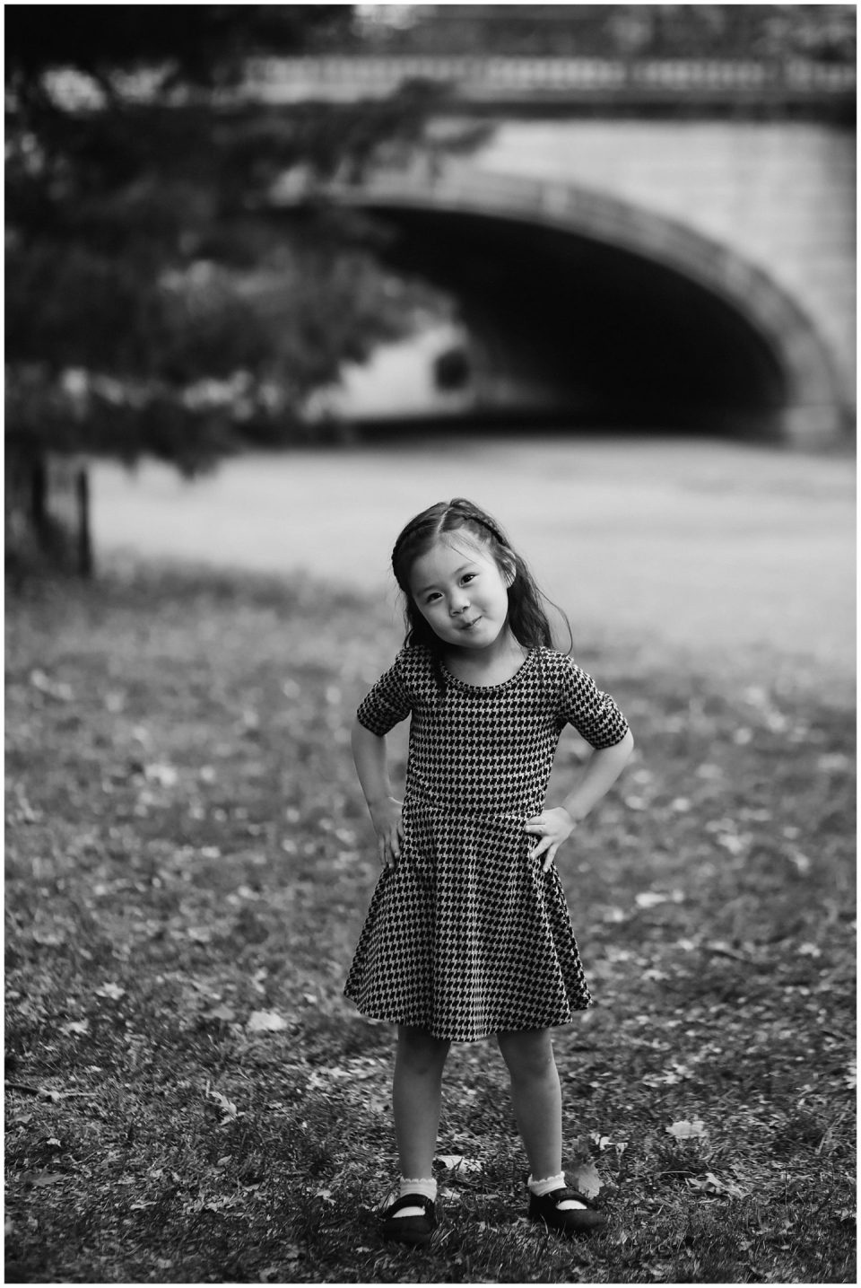 girl in dress in Central Park with nyc family photographer Helena Woods Photography