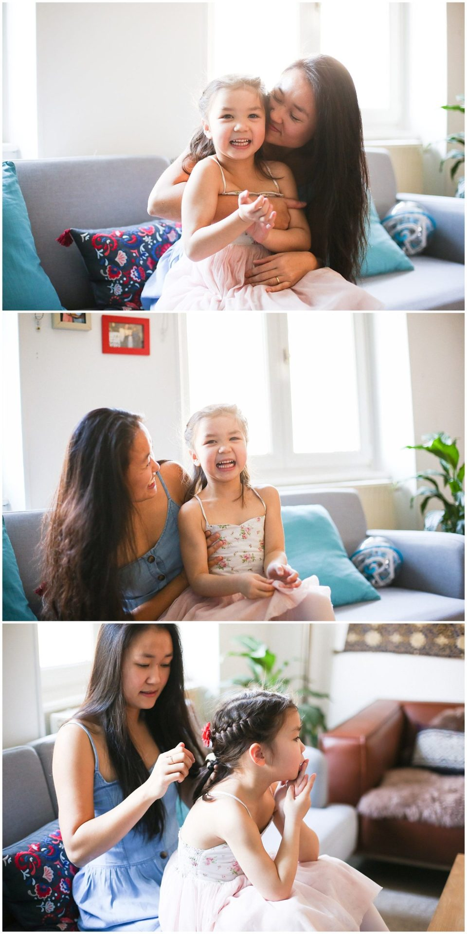 mother braids child's hair during Home Lifestyle Family Photo Session in France