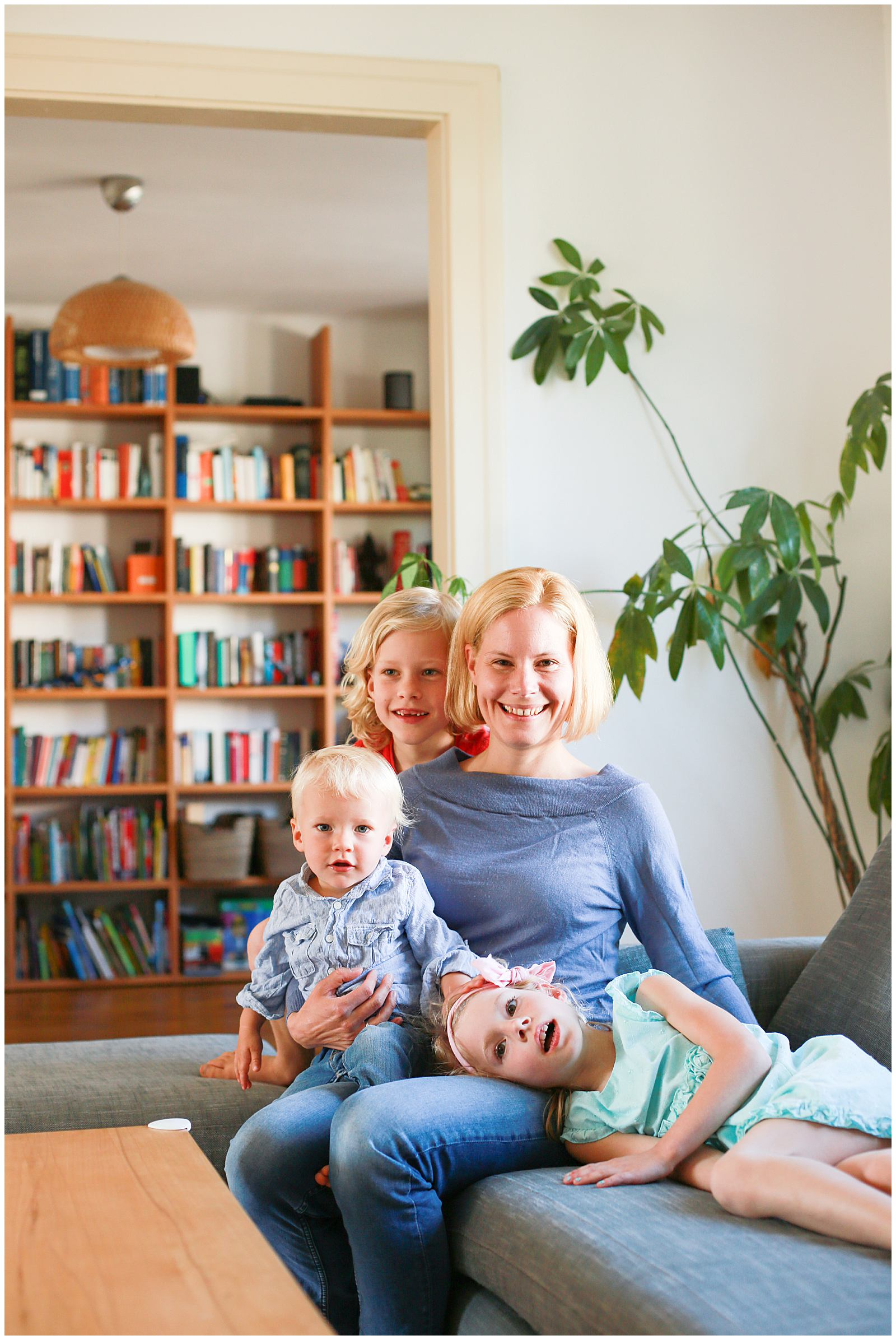 lifestyle family photos at home in living room in France