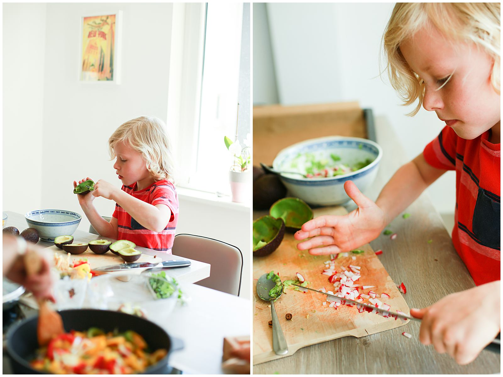 kid cooking at home with his family and lifestyle photographer in Nantes France