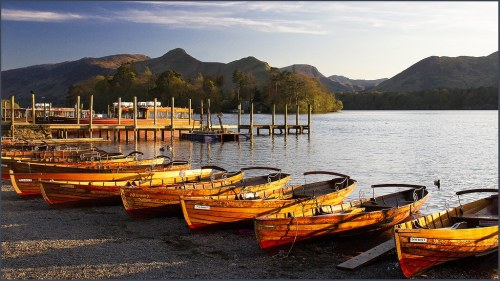 rowing boats on derwentwater in Keswick, Lake district cumbria england