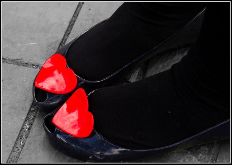 She wears her heart on her foot.