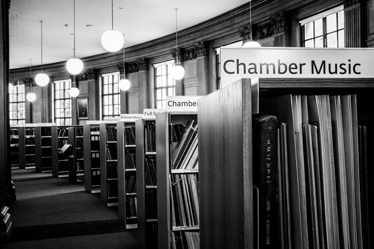 Manchester library chamber music monochrome
