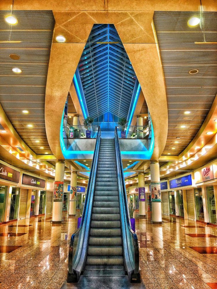 Lowry shopping mall escalator night deserted