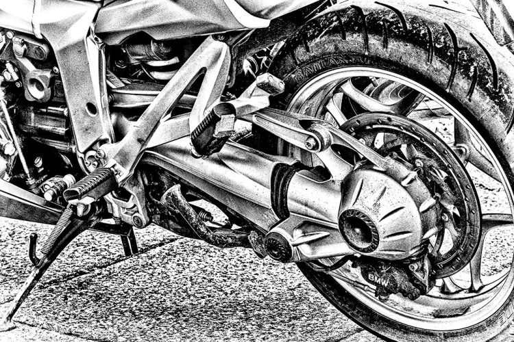rear wheel BMW motorbike motorcycle monochrome