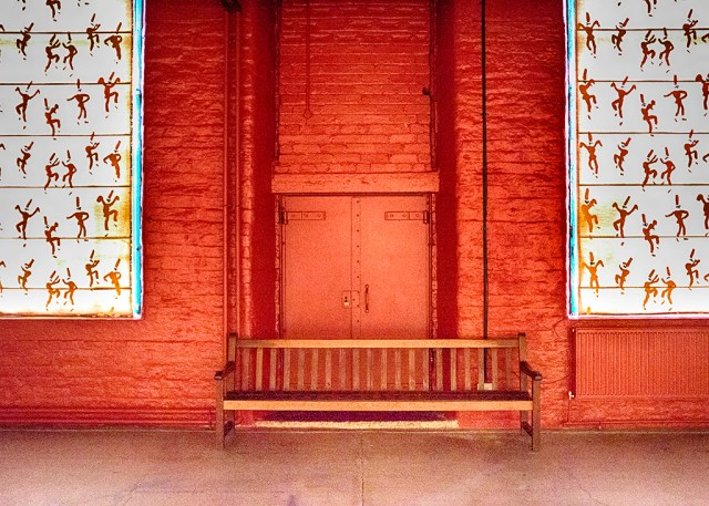 Orange Doors in Salts Mill, Saltaire UNESCO site Yorkshire
