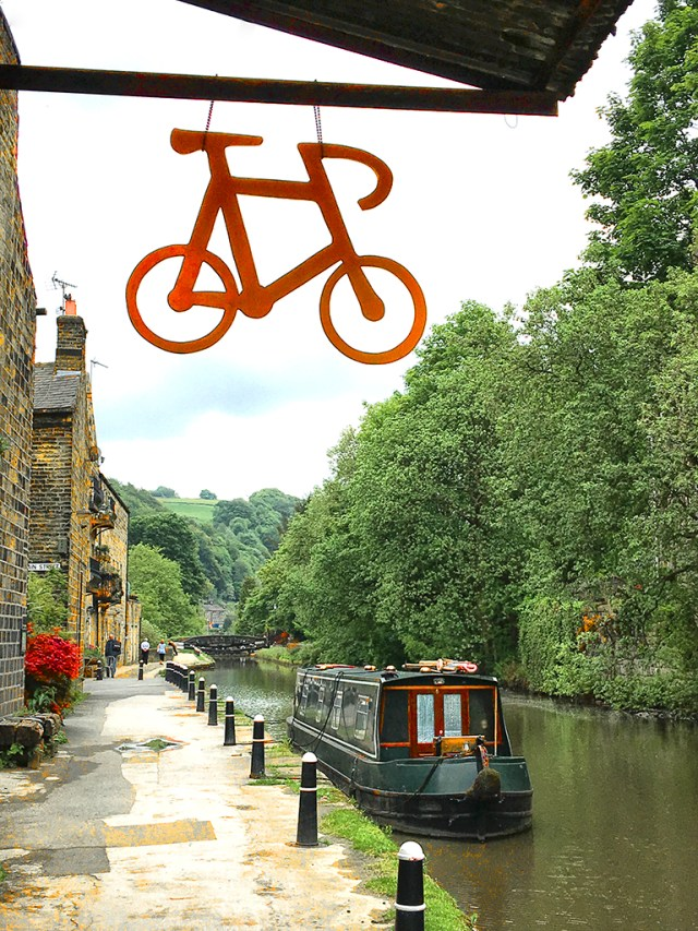 Bicycle Shop Sign Hebden Bridge canal Yorkshire