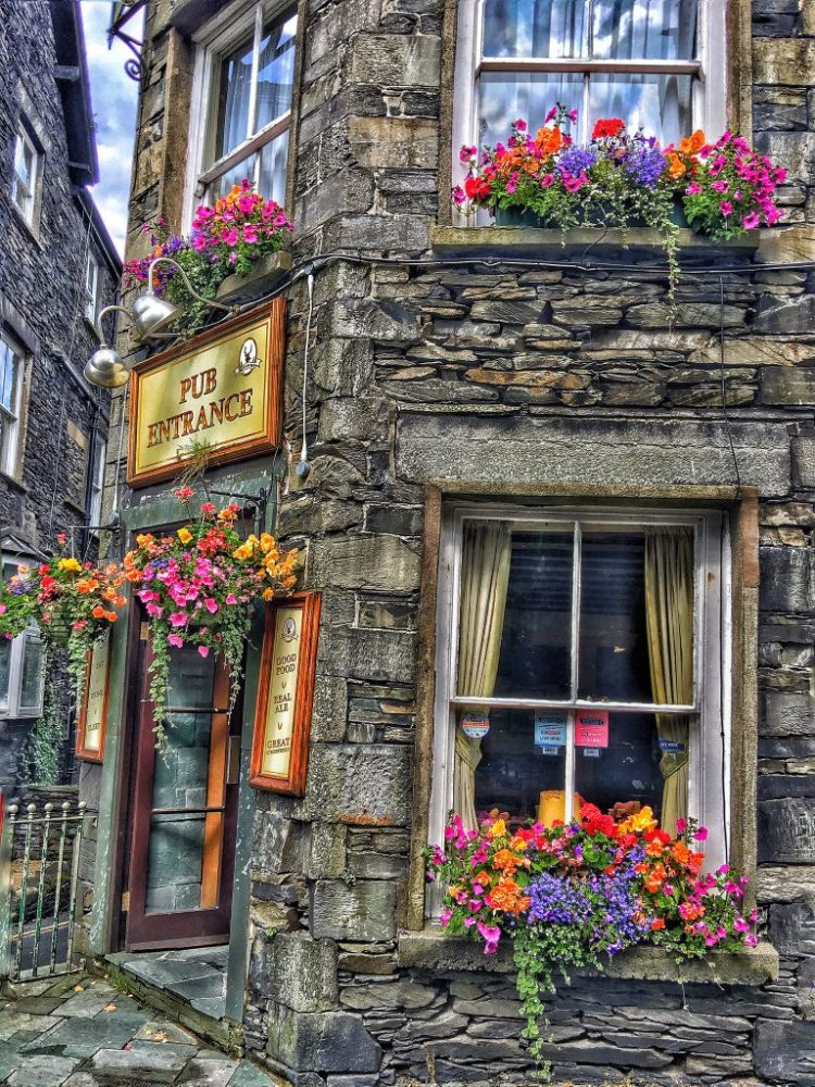 Pub Entrance Bowness Windermere English traditional Lake District Cumbria