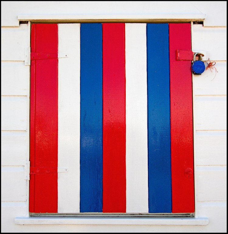 A Beach-Hut Window vibrant colour