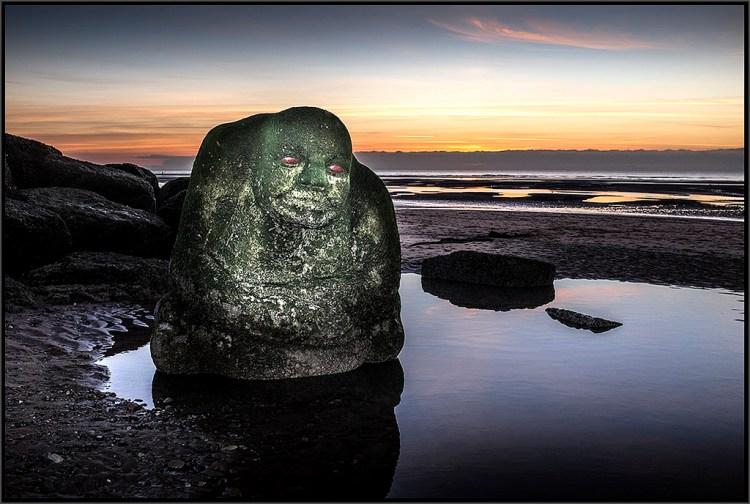 The Sea Ogre at Sunset Cleveleys Mythic coast