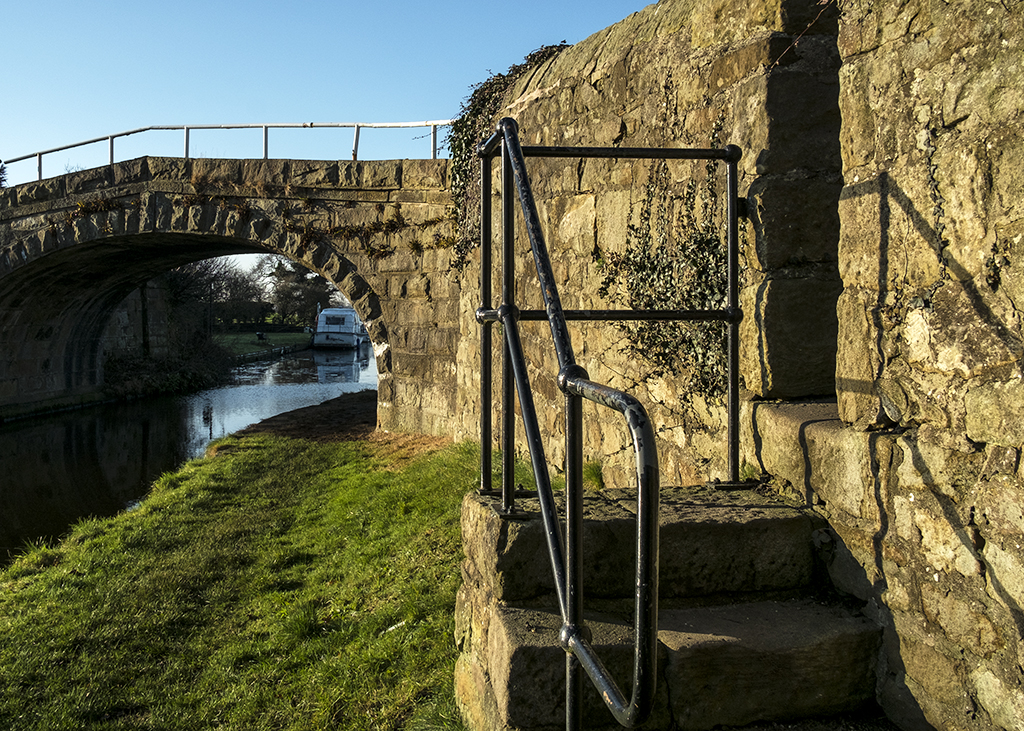 Steps at the Start canal Lancaster towpath
