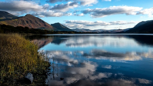 Bassenthwaite Lake Cumbria Lake District Fells England sunshine
