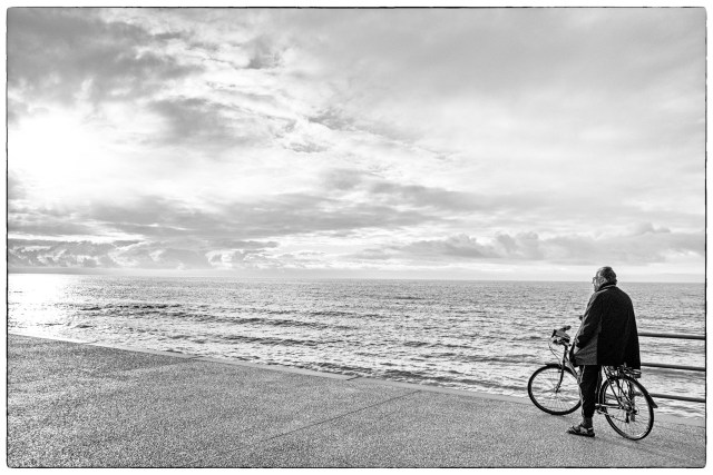 bicycle cyclist Cleveleys promenade Lancashire Fylde coast