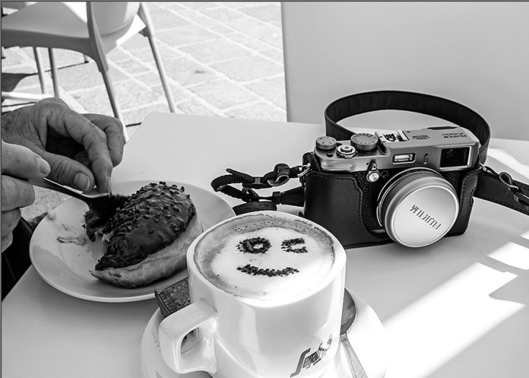 cameras photographers Happiness is.... Fuji camera coffee smiley donut