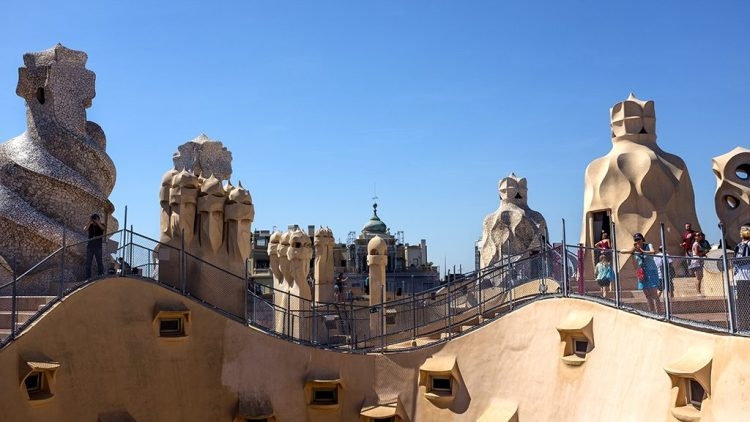 La Pedrera Panorama Gaudi chimneys Barcelona