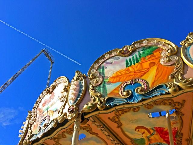 carousel, oddball, Blackpool, pier skydiver, plane ,