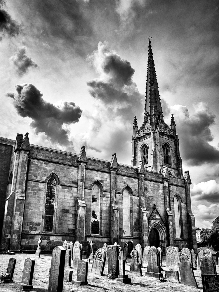 St Michael's Church Kirkham churchyard spire gravestones