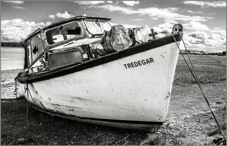 boat wreck monochrome