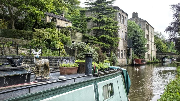 Bambi on Board narrowboat canal houseboat Hebden Bridge atop