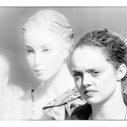 Girl &Mannekin high key portrait Monochrome