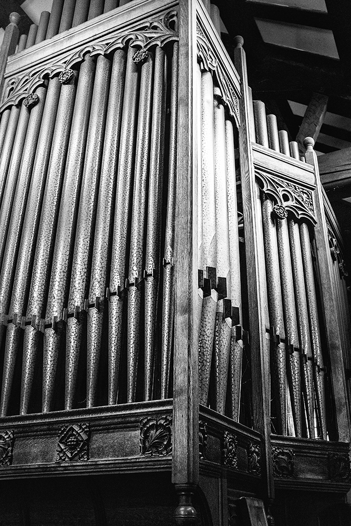 Organ Pipes St Annes Church Woodplumpton monochrome alphabet