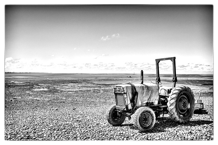 Tractor on Lytham Beach B&W monochrome
