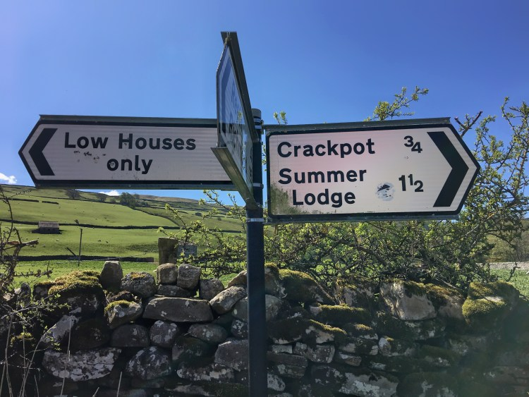 Crackpot village road sign Yorkshire Dales
