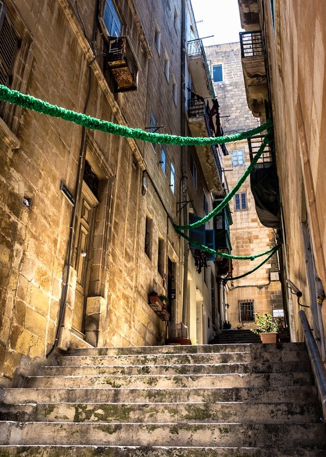 Steep street Valletta Malta 16th century which way