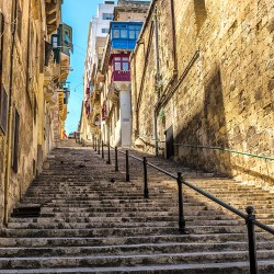 Malta steep streets Valletta 16th century