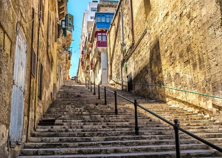 Malta steep streets Valletta 16th century