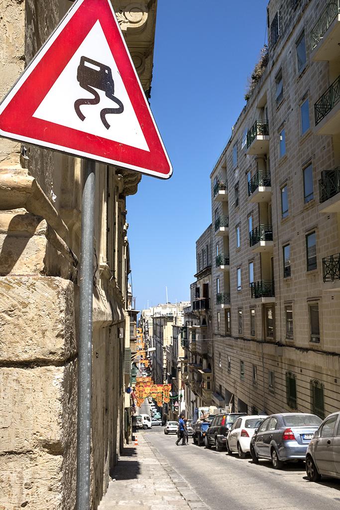 Steep street Valletta Malta 16th century which way