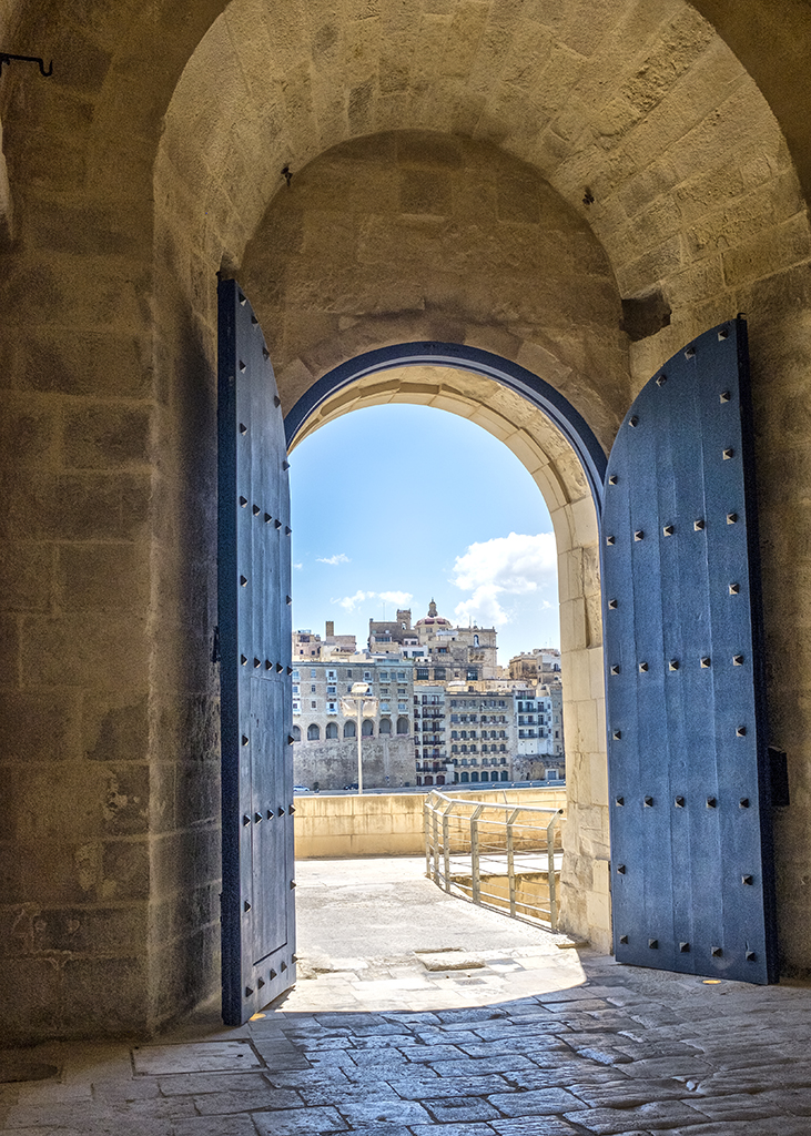 Blue Arch Fort St Angelo door historical Valletta iLBirgu Grand Harbour