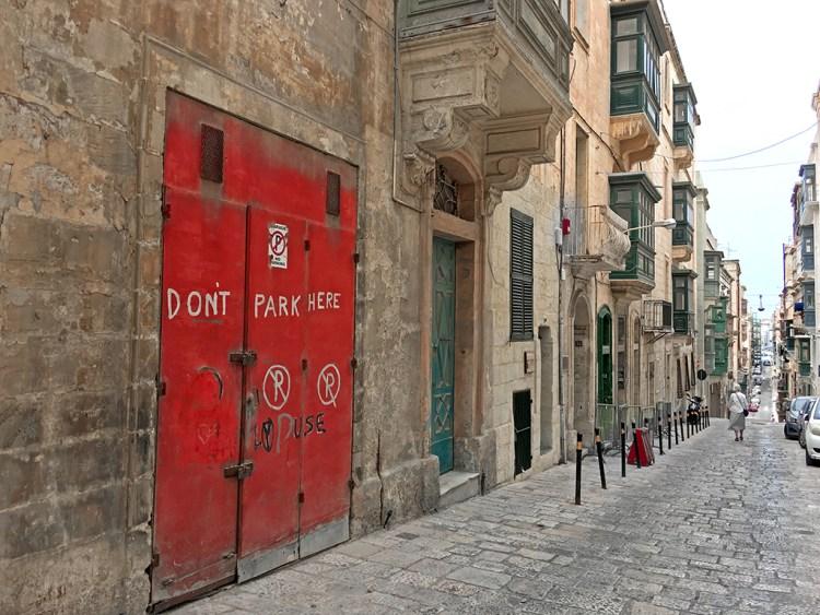 Valletta: Don't Park Here street scene malta