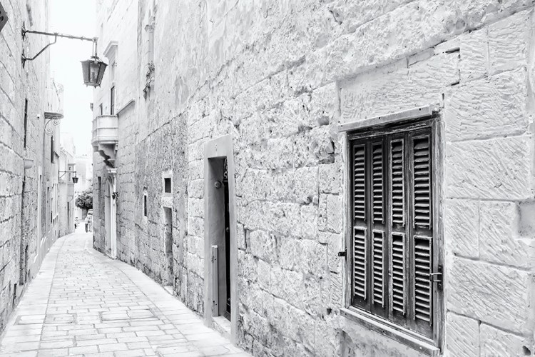 Shutters and a Streetlamp Mdina malta monochrome