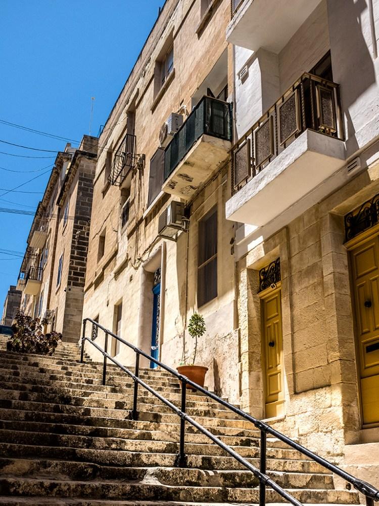 Yellow Doors on Steep Street Birgu Valletta Malta