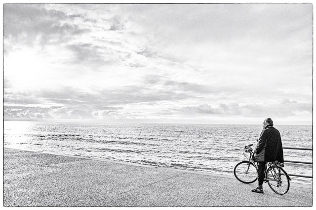 Cleveleys Prom monochrome cyclist bicycle wheels