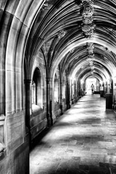 John Rylands Library Manchester monochrome corridor