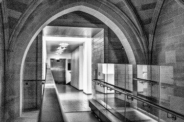 From Old to New corridor John Rylands Library Manchester