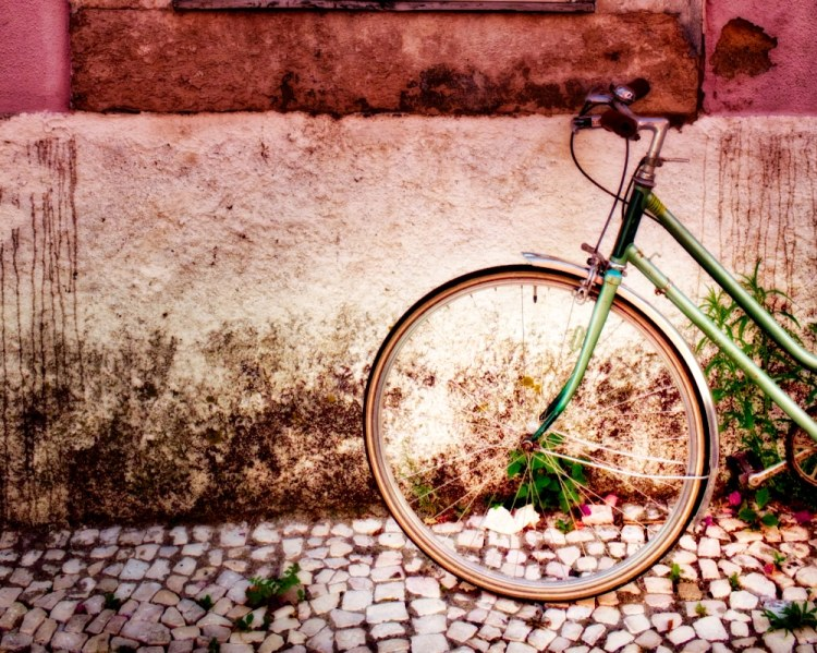 Green Bicycle on Pink Wall