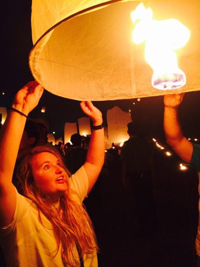 Releasing lanterns for Yee Peng Lantern Festival