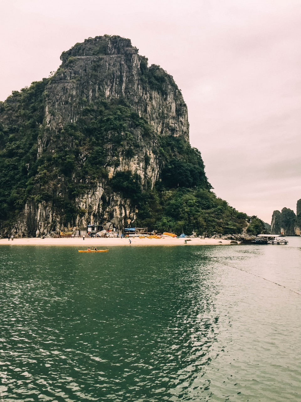 View of Thein Canh Son Cave in Halong Bay, Vietnam