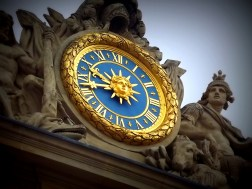Another French shot - I don't know how well this fits the theme, but it was the best I had in my stash so here, have a clock! Versailles was a beautiful place but I loved the outside roof the most; it was a very dark navy blue tile with golden windows and this pretty awesome clock. Such a lovely colour combination!