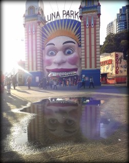I have already posted a few photos from Luna Park in Sydney - but this puddle made such a great mirror that yet another felt necessary!