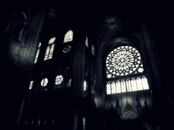 This one shows how the Rose window fits in the actual space of Notre Dame - makes the other windows around it look tiny, even though they were still taller than me!