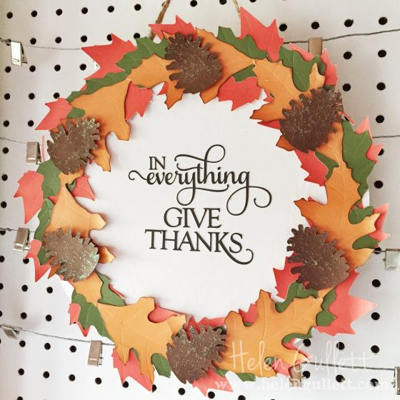 DIY Fall Leaves Wreath, handmade by Helen Gullett @ Living My Given Life | www.helengullett.com #diy #papercraft #fall #thanksgiving #autumn #wreath #silhouetteamerica #silhouettecameo #homedecor