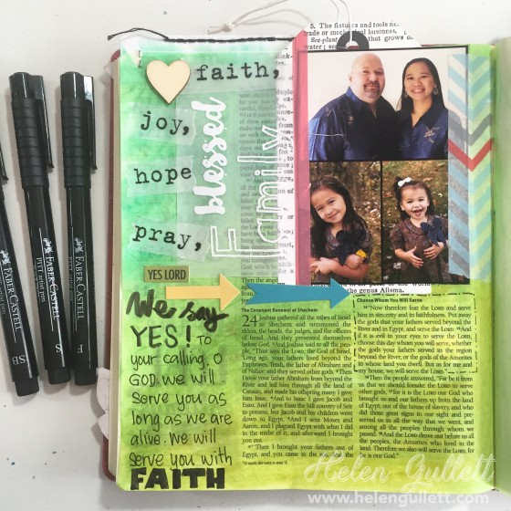 Gratitude Documented Bible Journaling Day 3: Family. Joshua 24:14-15 #blessedfamily #biblejournaling #illustratedfaith #gratitudedocumented #latinacrafterstamps #beablessing #ctmh #fabercastell #gelatos #pittsartistpen #creatingjoyfully #LampAndLight
