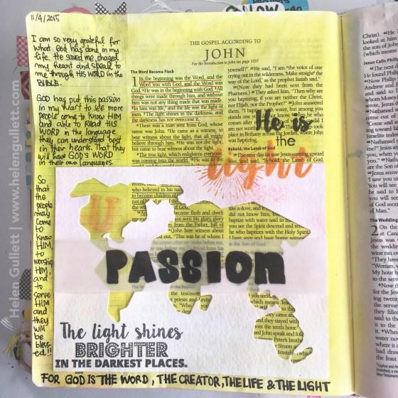 Gratitute Documented Bible Journaling Day 4: Passion. John 1:1-5 #illustratedfaith #gratitudedocumented #biblejournaling #latinacrafter #neatandtangled #beablessing #fabercastell #gelatos #pittsartistpens #stampersbigbrushpens #primamarketing #creatingjoyfully #lampandlight
