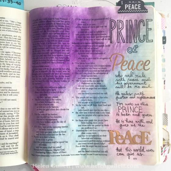 Gratitute Documented Bible Journaling Day 5: Peace. Isaiah 9:1-7 #gratitudedocumented #illustratedfaith #biblejournaling #peace #PrinceofPeace #neatandtangled #pittsartistpens #gelatos #FaberCastell #creatingjoyfully #LampAndLight